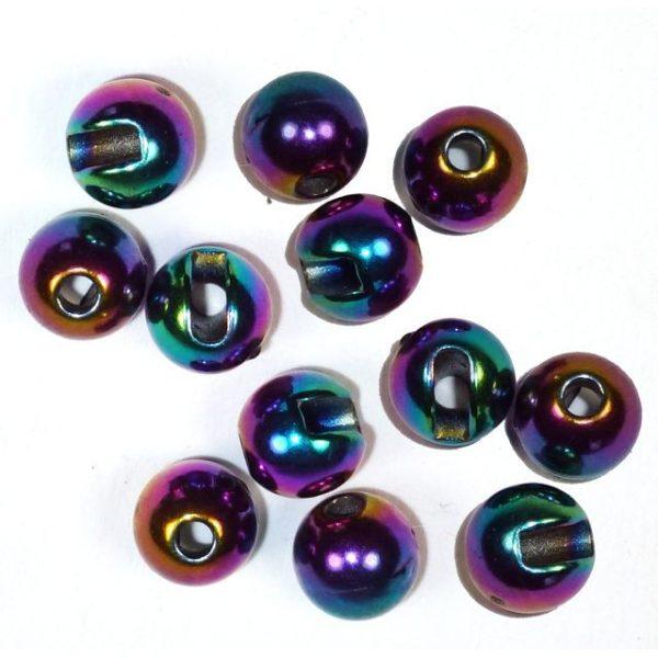 Geschlitzte Perlen aus Tungsten - regenbogen